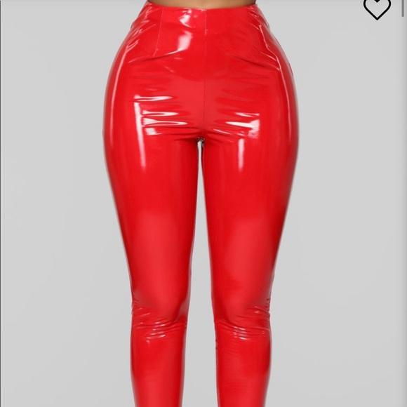 Fashion Nova Pants - Red latex pants